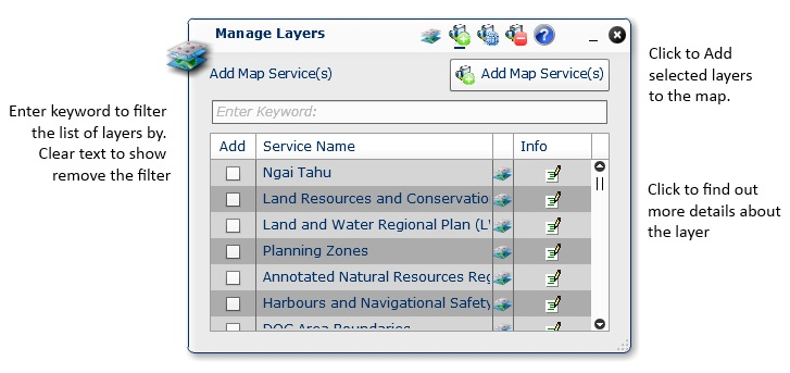 Manage Layers – Map Service